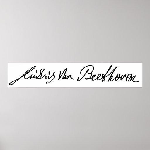 Firma del músico Ludwig van Beethoven Póster
