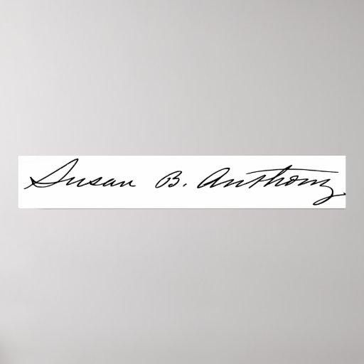 Firma del Suffragette Susan B. Anthony Póster
