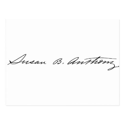 Firma del Suffragette Susan B. Anthony Tarjeta Postal