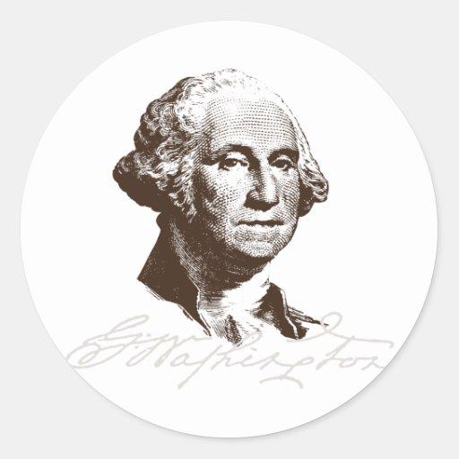 Firma George Washington Pegatina Redonda