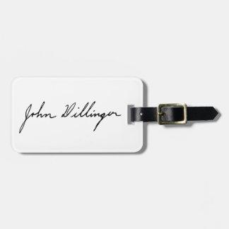 Firma manuscrita de John Dillinger Etiquetas Maletas