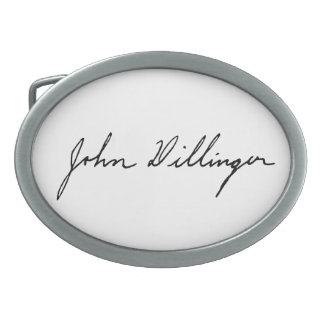 Firma manuscrita de John Dillinger Hebilla Cinturon Oval