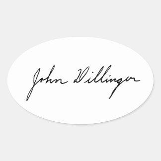 Firma manuscrita de John Dillinger Pegatina Ovalada