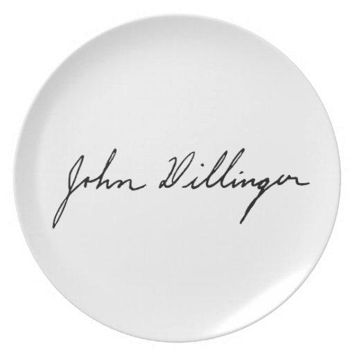 Firma manuscrita de John Dillinger Plato Para Fiesta