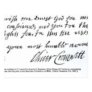 Firma Oliver Cromwell, de manuscrito Postal