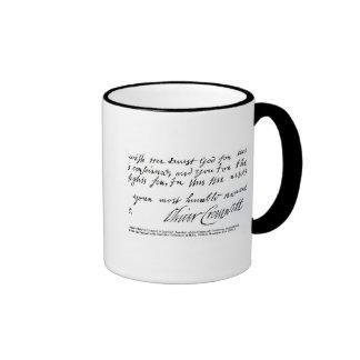Firma Oliver Cromwell, de manuscrito Taza De Dos Colores