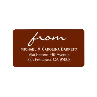 Firma simple - caramelo etiquetas de dirección