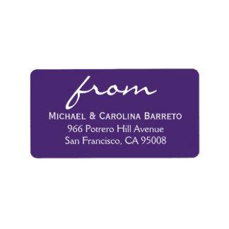Firma simple - púrpura etiquetas de dirección