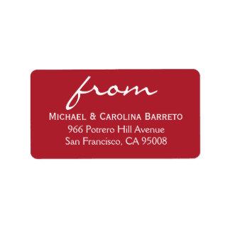 Firma simple - rojo etiquetas de dirección