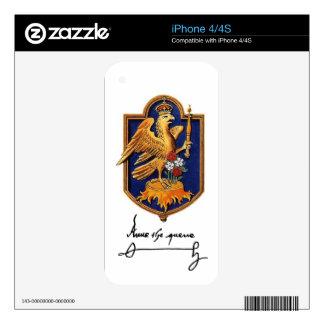 Firma y escudo de armas de Ana Bolena iPhone 4 Calcomanías