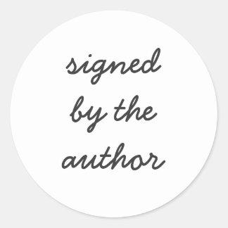 firmado por el autor pegatina redonda