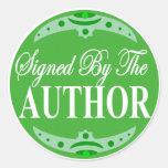 Firmado por el pegatina del autor