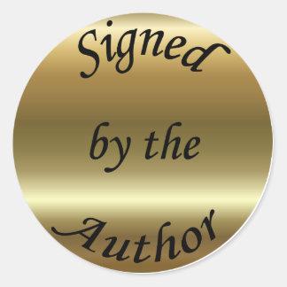 Firmado por el pegatina del oro del autor