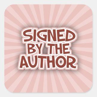 Firmado por los pegatinas de AuthorRed Calcomanias Cuadradas