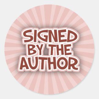Firmado por los pegatinas de AuthorRed Etiqueta Redonda