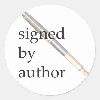 Firmado por los pegatinas del autor pegatina redonda