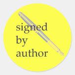 Firmado por los pegatinas del autor - etiquetas redondas