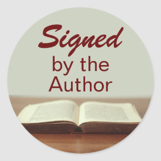 Firmado por los pegatinas del autor abra el libro pegatina redonda