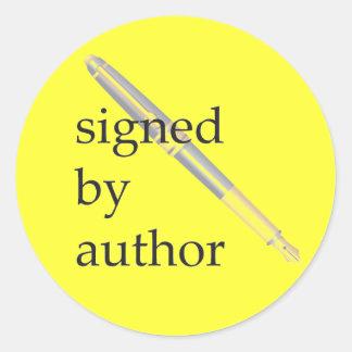 Firmado por los pegatinas del autor - pegatina redonda