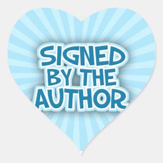Firmado por los pegatinas del azul del autor