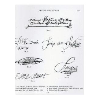 Firmas del décimosexto y siglo XVII Tarjetas Postales