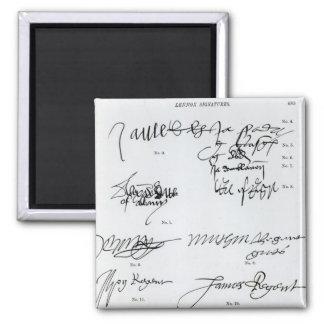 Firmas del escocés décimo quinto y del siglo XVI Imán Para Frigorifico