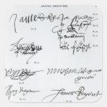 Firmas del escocés décimo quinto y del siglo XVI Pegatina Cuadrada
