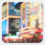 Firme adentro el Times Square Pegatinas Cuadradas Personalizadas