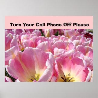 Firme la vuelta su teléfono celular por favor de póster