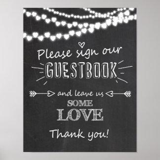Firme nuestra pizarra de la muestra del guestbook póster