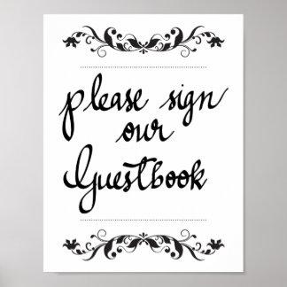 Firme por favor nuestro boda de la caligrafía del póster