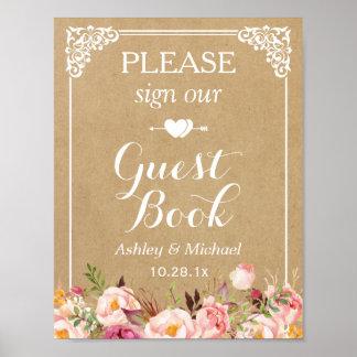 Firme por favor nuestro Guestbook del boda - Kraft Póster