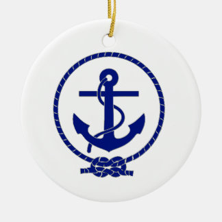 Firmly Anchored Nautical Anchor Design Ceramic Ornament