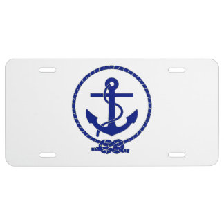 Firmly Anchored Nautical Anchor Design License Plate