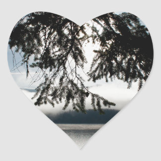 Firs and Lake Heart Sticker