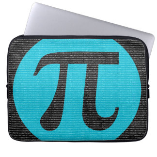 First 10,000 digits of Pi, blue on black Computer Sleeve