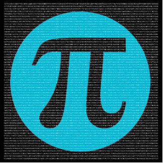 First 10,000 digits of Pi, blue on black Cutout