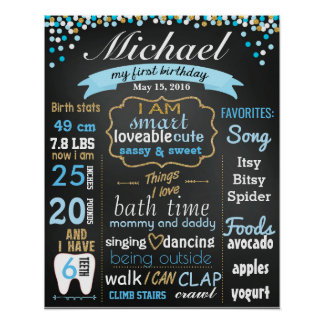 First 1st Birthday Chalkboard sign confetti gold Poster