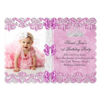 First 1st Birthday Girls Lilac Pink Photo Tiara 5x7 Paper Invitation Card