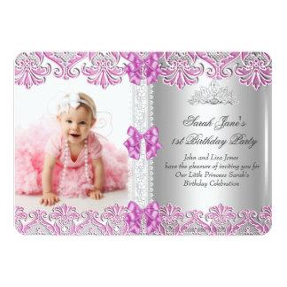 First 1st Birthday Girls Lilac Pink Photo Tiara Si 5x7 Paper Invitation Card