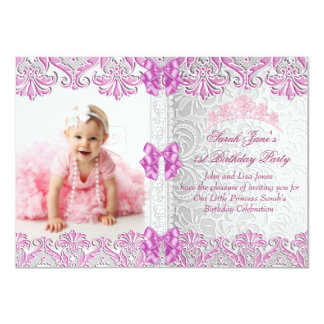 First 1st Birthday Party Girls Pink Photo Princess 4.5x6.25 Paper Invitation Card