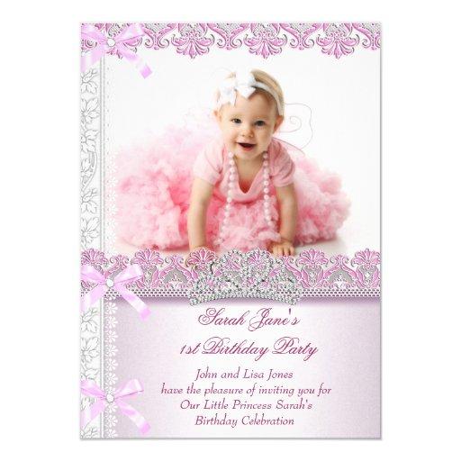 First 1st Birthday Party Girls Princess Pink Photo 4.5x6