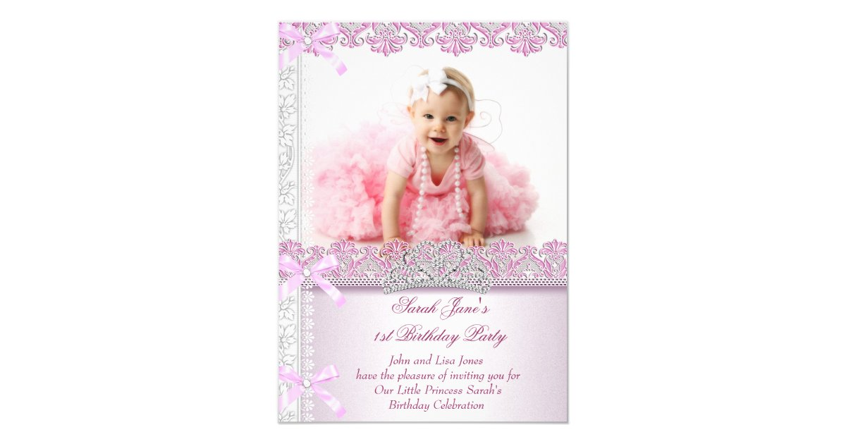 First 1st Birthday Party Girls Princess Pink Photo 4 5x6 25