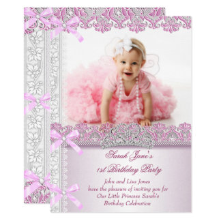 First 1st Birthday Party Girls Princess Pink Photo Card