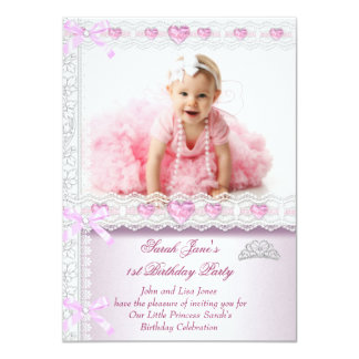 First 1st Birthday Party Girls Princess Pink Photo 4.5x6.25 Paper Invitation Card