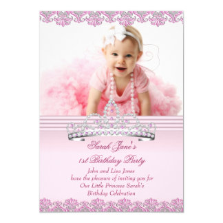 First 1st Birthday Party Girls Princess Pink Photo 5x7 Paper Invitation Card