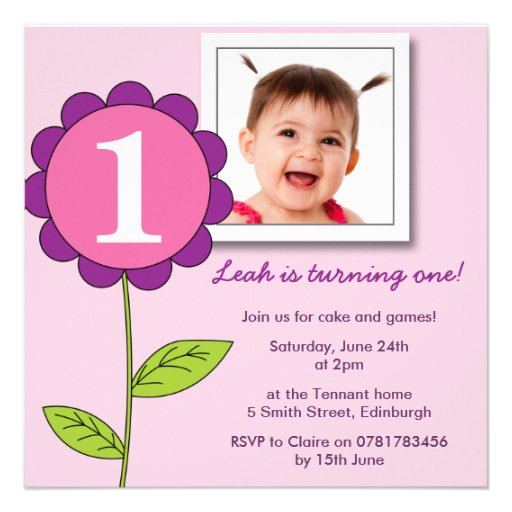 First 1st Birthday Party Photo Flower -pink 5.25x5.25