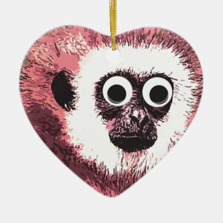 First a little monkey business Double-Sided heart ceramic christmas ornament