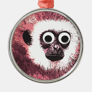 First a little monkey business round metal christmas ornament