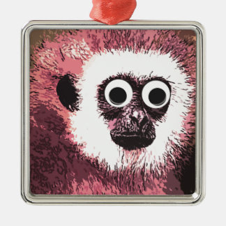 First a little monkey business square metal christmas ornament